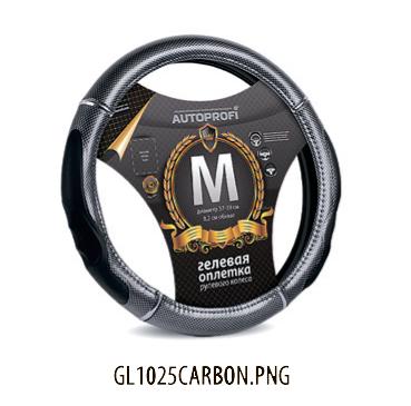 Оплётка руля PU кожа, вставки под карбон, размер М, GL-1025 CARBON