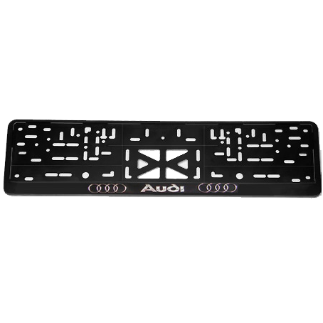 AUDI. Рамка с надписью (серебро), черная.