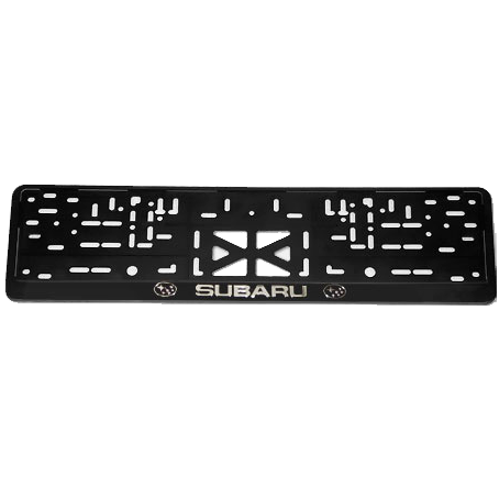 SUBARU. Рамка с надписью (серебро), черная.