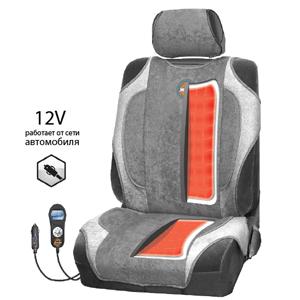 Авточехол с подогревом ЖАРА, 12В, серый. HOT-700 D.GY/L.GY