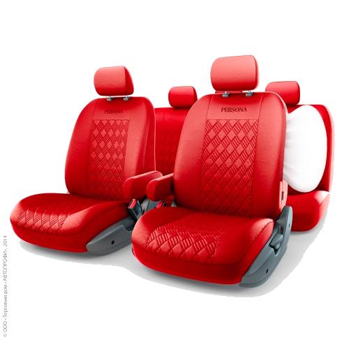 Автомобильные чехлы PERSONA FULL, экокожа,  AIRBAG,  цвет алый красный.  PER-1305GF PIMENTO