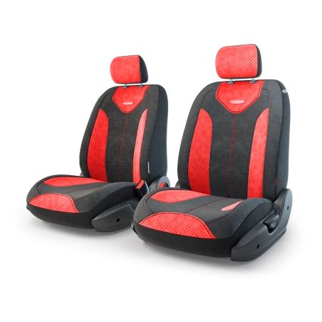 Авточехлы Трансформеры MATRIX, велюр, AIRBAG,  передний ряд, чёрн./красный.  TRS/MTX-001 BK/RD