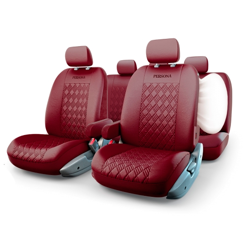 Авточехлы PERSONA FULL, экокожа,  AIRBAG,  цвет вишнёвый.  PER-1305GF CHERRY