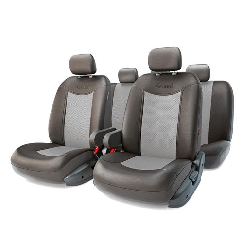 Авточехлы GRAND FULL, экокожа,  AIRBAG, чёрн./т.серый.  GND-1305GF BK/D.GY