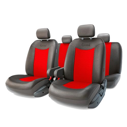 Автомобильные чехлы GRAND FULL, экокожа,  AIRBAG, чёрн./красный.  GND-1305GF BK/RD