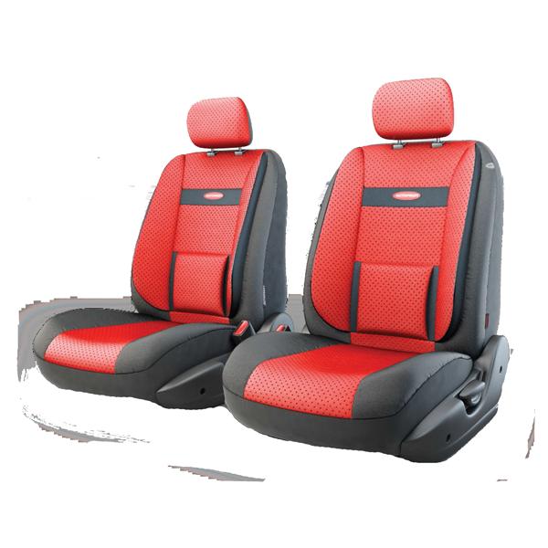 Авточехлы Трансформеры COMFORT, экокожа, AIRBAG,  передний ряд, чёрн./красный.  TRS/COM-001G BK/RD