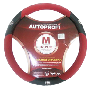 Оплётка руля имитация натуральной кожи,хромированные кольца, чёрн./красный, размер М,  AP-150 BK/RD (M)