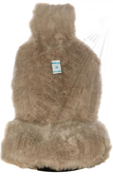 Комплект накидок на весь салон, овчина, длинный ворс, 5 шт, темно бежевый