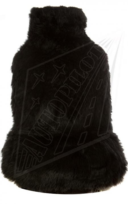 Комплект накидок на весь салон, овчина, длинный ворс, 5 шт, черный