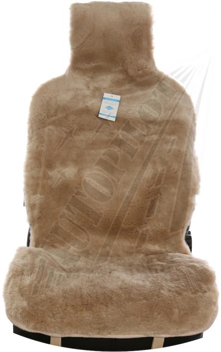 Комплект накидок на весь салон, овчина, Короткий ворс (цельные шкуры класс А), 5 шт, темно бежевый