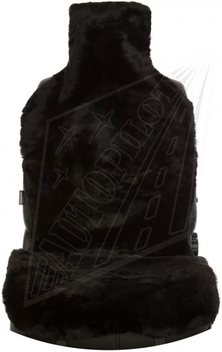 Комплект накидок на весь салон, овчина, Короткий ворс (цельные шкуры класс А), 5 шт, черный
