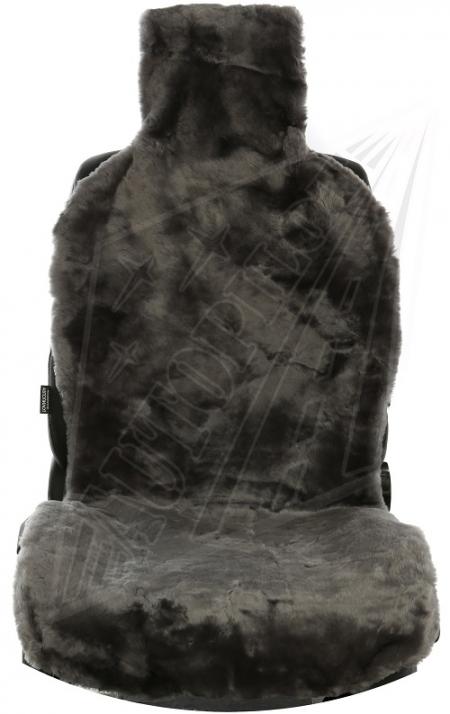 Комплект накидок на весь салон, овчина,Короткий ворс (РОССИЯ,цельные шкуры) , 5 шт, серый