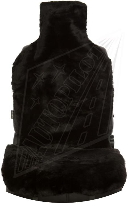 Комплект накидок на весь салон, овчина,Короткий ворс (РОССИЯ,цельные шкуры ), 5 шт, черный