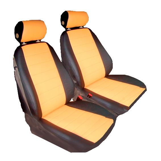 Чехлы для Toyota Matrix (Pontiac Vibe), черная и оранжевая кожа аригон