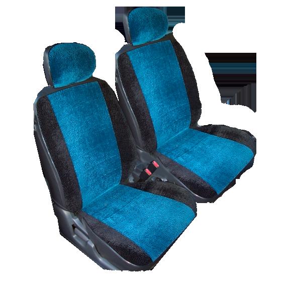Чехлы для Volkswagen T-5 3 мест, флок синий