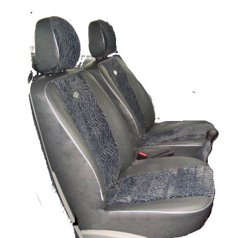 Чехлы для Fiat Albea 1 выпуск сплошное, кож.зам и черный велюр